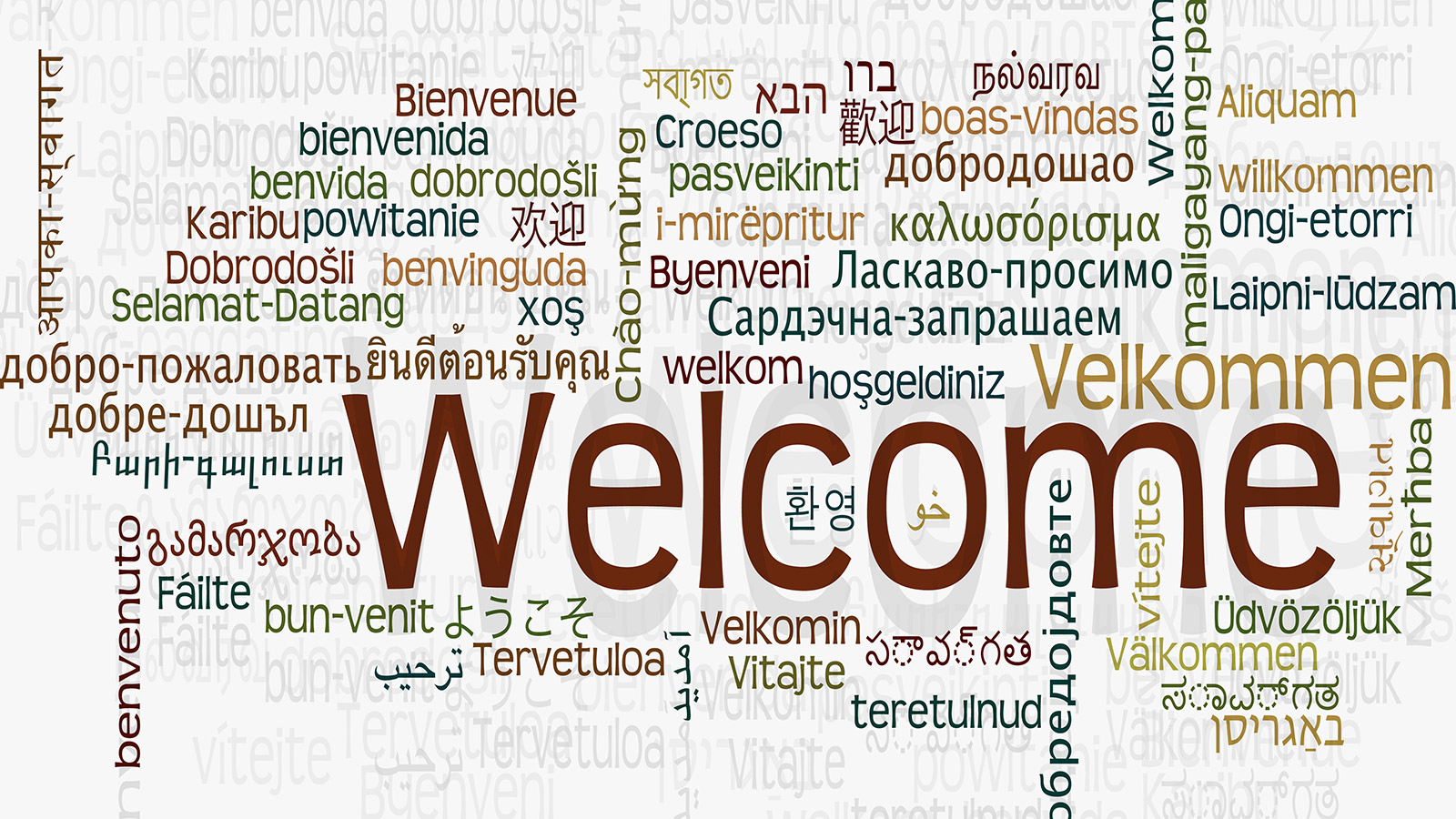 A word cloud of different ways to say welcome in many different languages.