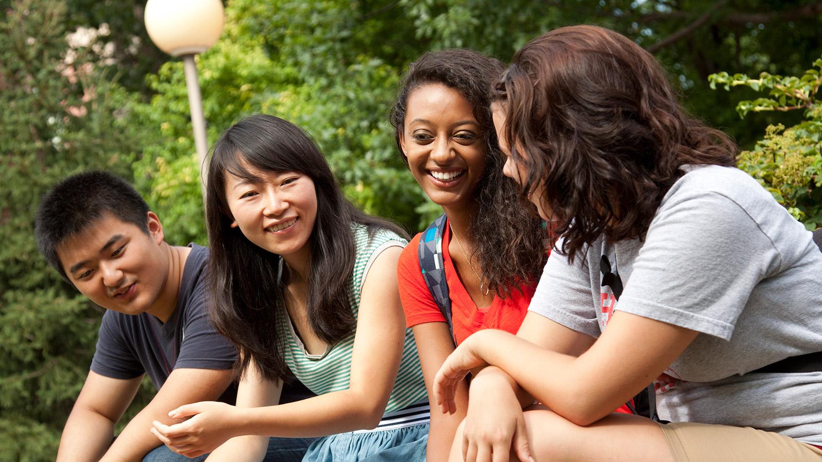 Students conversing.